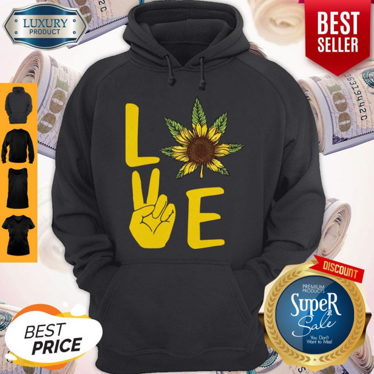 Official Love Hands Sunflower Weed Hoodie