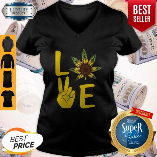 Official Love Hands Sunflower Weed V-neck