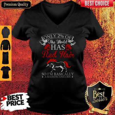 Official Red Hair Majestic Unicorn V-neck