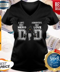 Pittsburgh Steelers Nfl Dad A Son's First Hero A Daughter's First Love V-neck