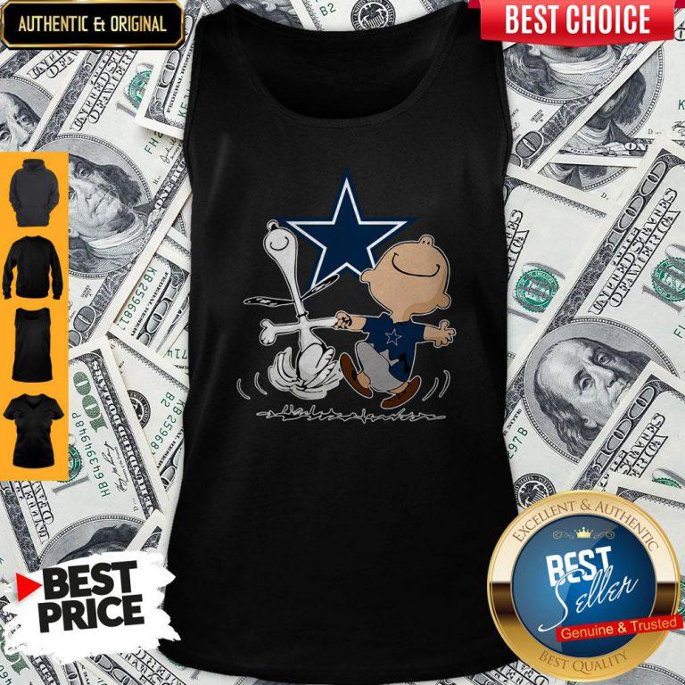 Premium Snoopy And Charlie Brown Dallas Cowboys Tank Top