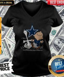 Premium Snoopy And Charlie Brown Dallas Cowboys V-neck