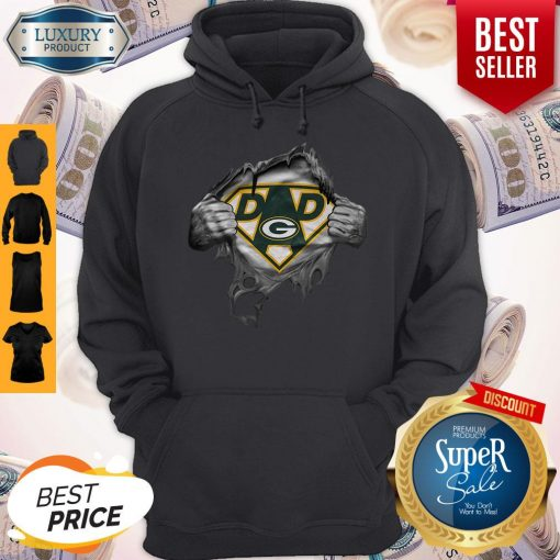 Pretty Blood Inside Me Dad Green Bay Packers Logo Hoodie