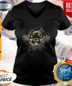 Pretty Blood Inside Me Dad Green Bay Packers Logo V-neck