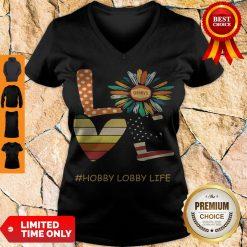 Pretty Love Hobby Lobby Life Flower American Flag Vintage V-neck