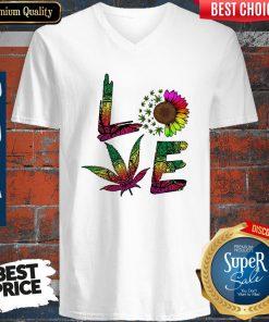 Pretty Love Sunflower And Weed Cannabis Marijuana V-neck