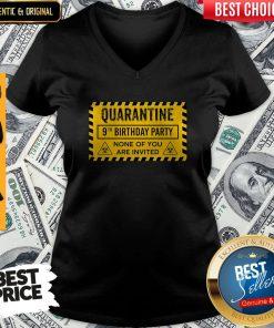 Quarantine 9th Birthday Party None Of You Are Invited Biohazard Symbol V-neck