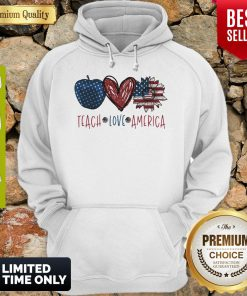 Teach Love America Sunflower Cross American Flag Veteran Independence Day Hoodie