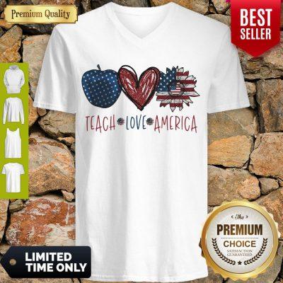 Teach Love America Sunflower Cross American Flag Veteran Independence Day V-neck