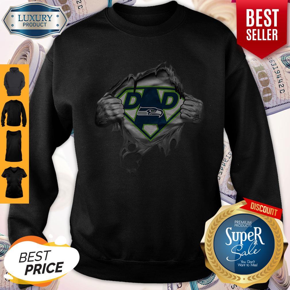 Top Blood Inside Me Dad Seattle Seahawks Logo Sweatshirt