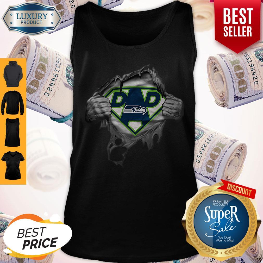 Top Blood Inside Me Dad Seattle Seahawks Logo Tank Top