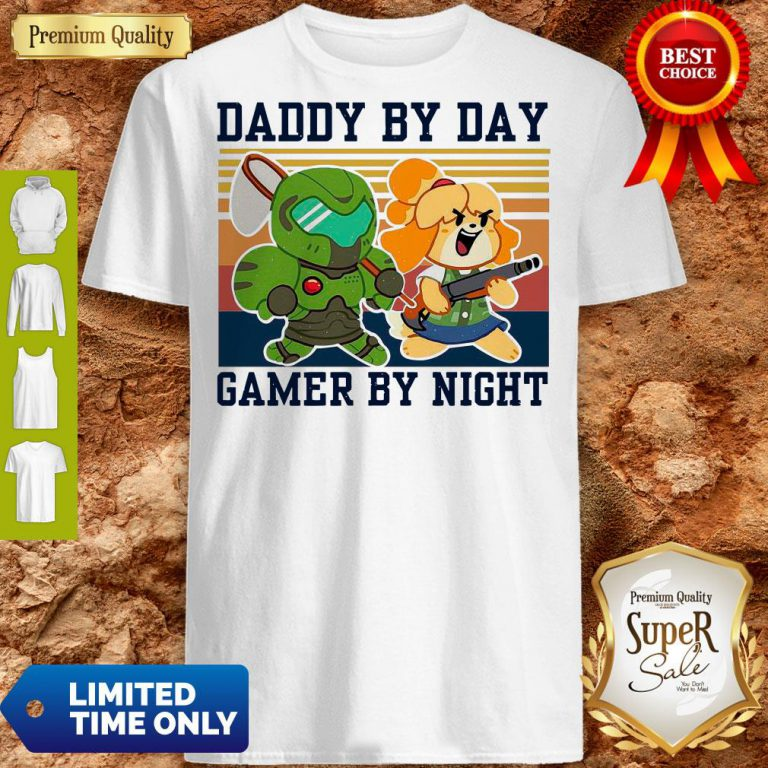 Top Doomguy and Isabelle Daddy By Day Gamer by Night Vintage Shirt