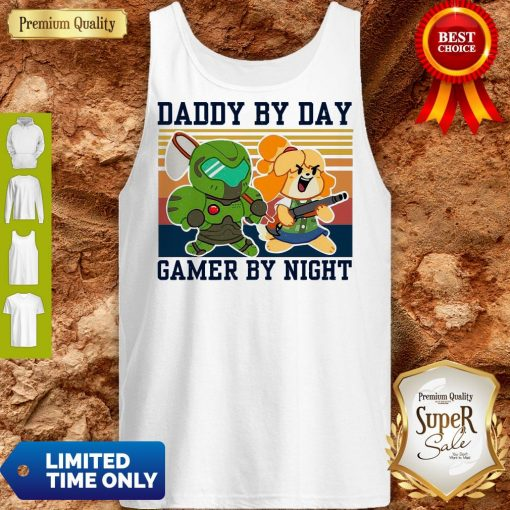 Top Doomguy and Isabelle Daddy By Day Gamer by Night Vintage Tank Top