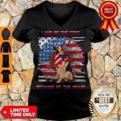 Top German Shepherd American Land Of The Free Because Of The Brave V-neck