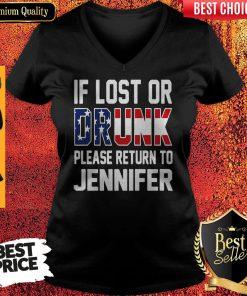 Top If Lost Or Drunk Please Return To Jennifer V-neck