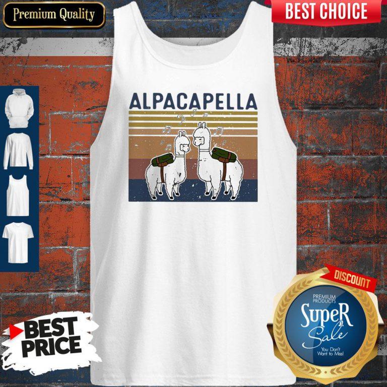 Top Llama Alpacapella Music Teacher Strong Vintage Tank Top