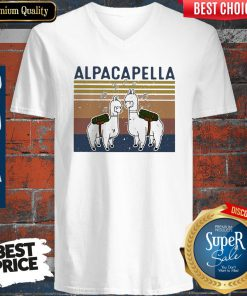 Top Llama Alpacapella Music Teacher Strong Vintage V-neck