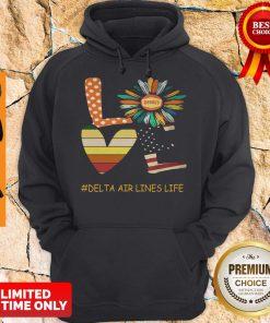 Top Love Delta Air Lines Life Flower American Flag Vintage Hoodie