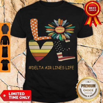 Top Love Delta Air Lines Life Flower American Flag Vintage Shirt