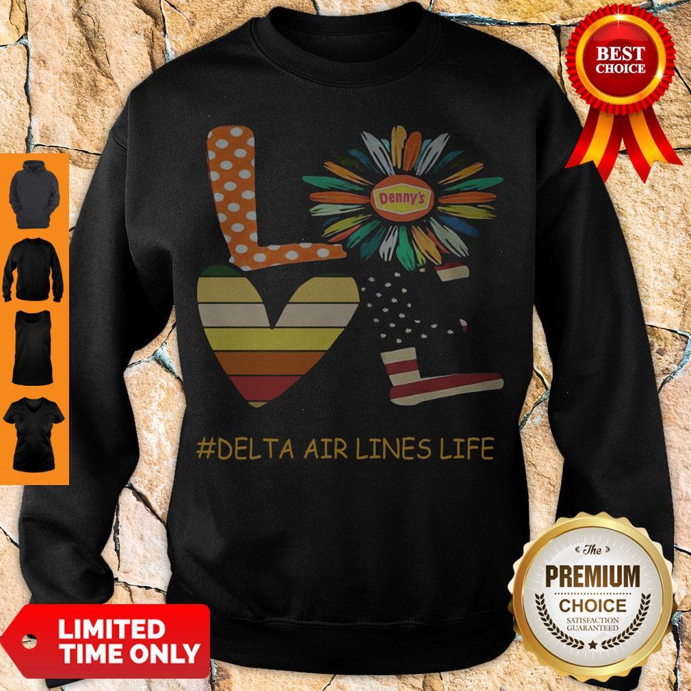 Top Love Delta Air Lines Life Flower American Flag Vintage Sweatshirt