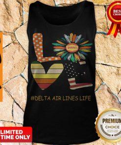 Top Love Delta Air Lines Life Flower American Flag Vintage Tank Top