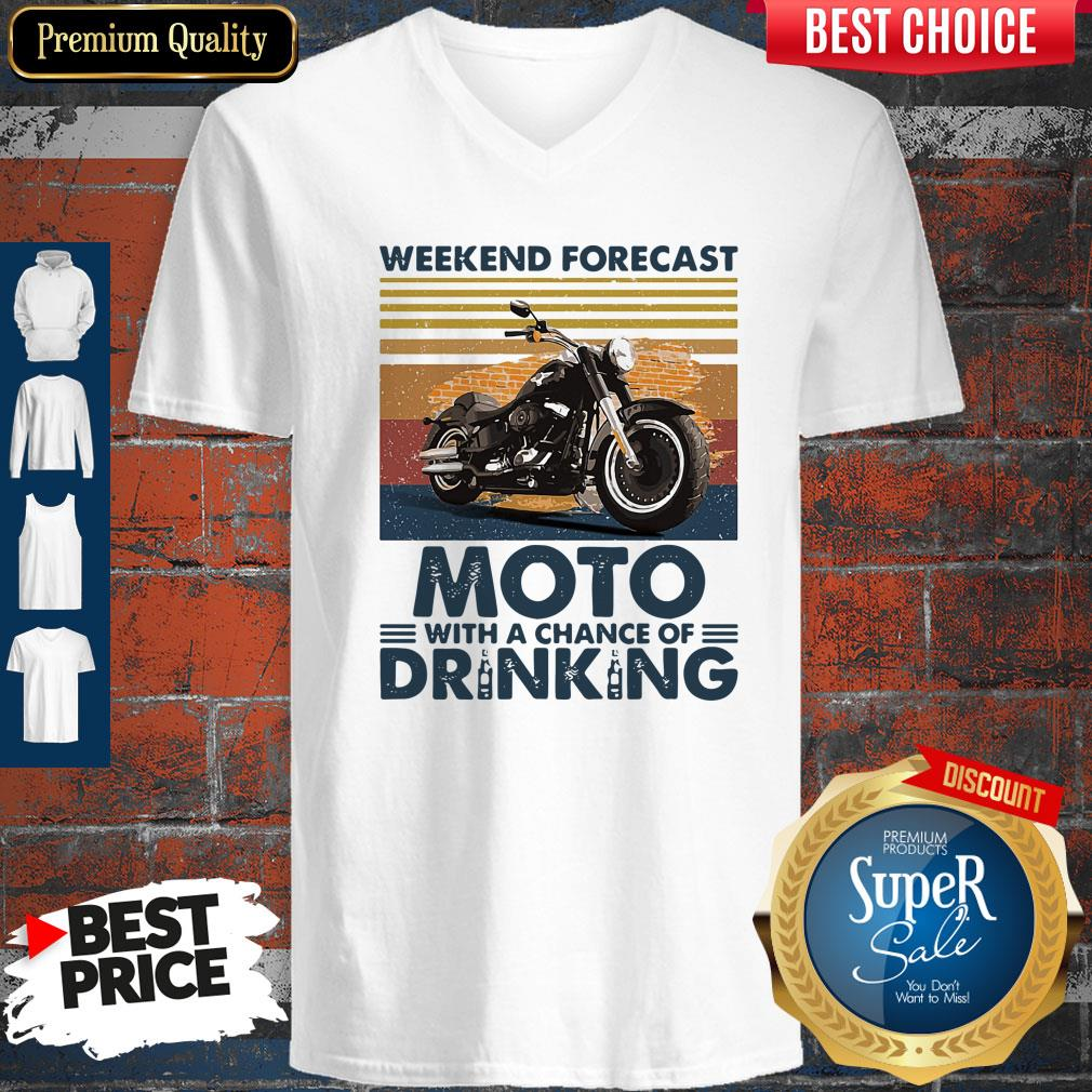 Top Weekend Forecast Moto With A Chance Of Drinking Vintage V-neck