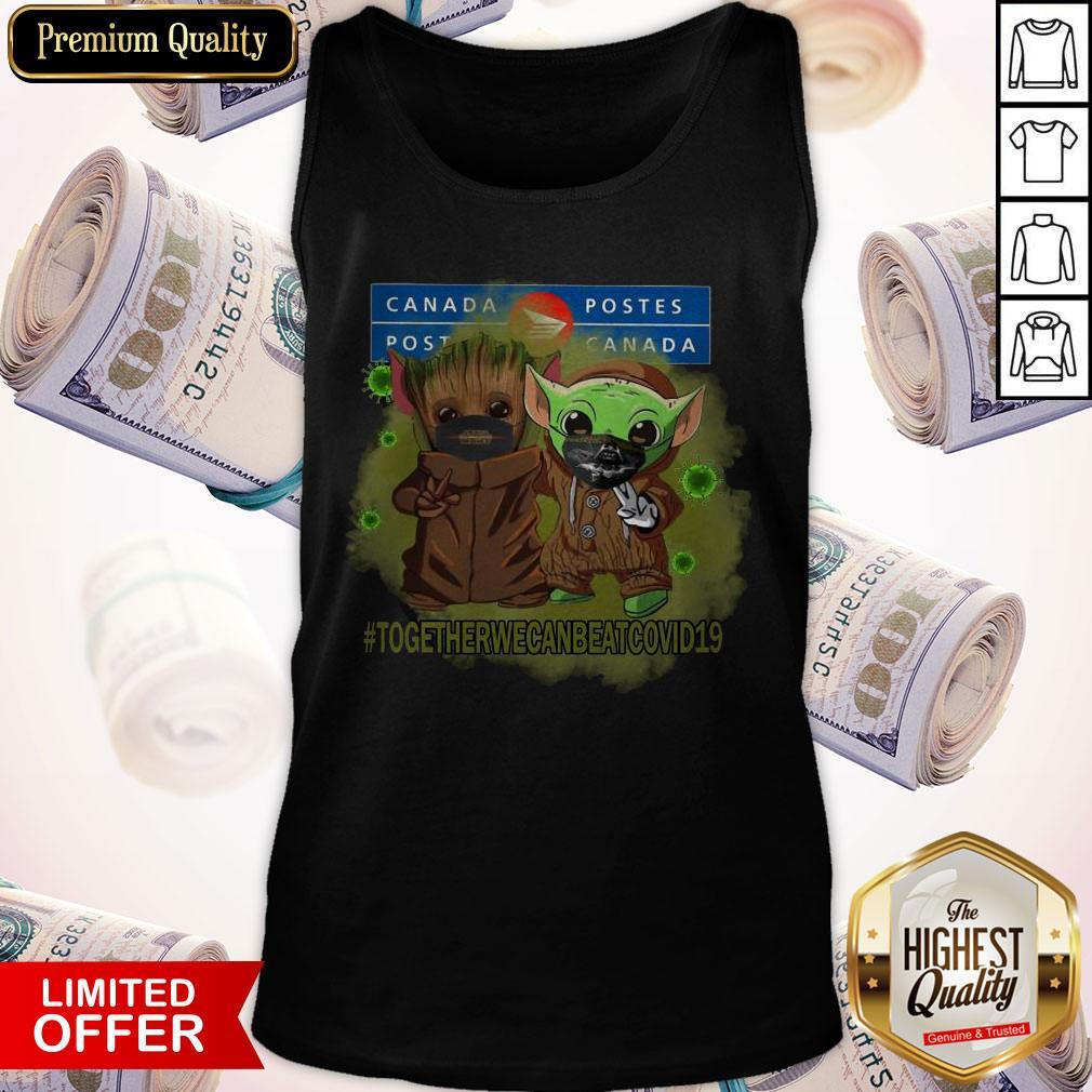 Baby Groot And Baby Yoda Face Mask Star Wars Darth Vader Canada Post Together We Can Beat Covid 19 Tank Top