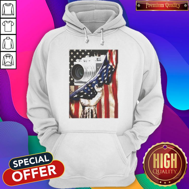 Camera Black Lives Matter American Flag Independence Day Hoodiea