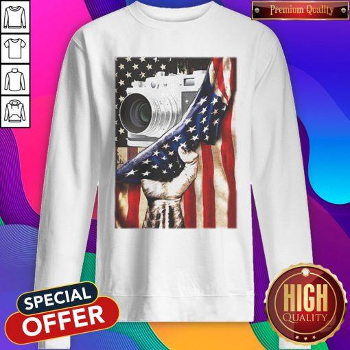 Camera Black Lives Matter American Flag Independence Day Sweatshirt