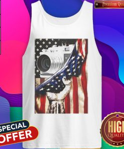 Camera Black Lives Matter American Flag Independence Day Tank Top