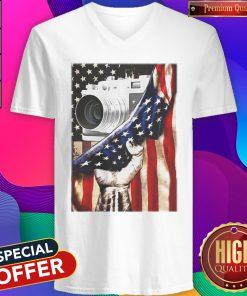 Camera Black Lives Matter American Flag Independence Day V- neck