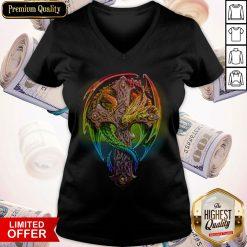 Premium Cross Dragon LGBT Color V- neck