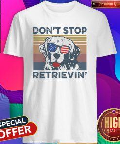 Dont Stop Retrievin Dog Golden Vintage Retro Independence Day shirt