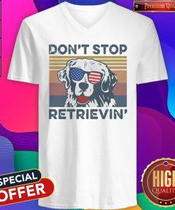 Dont Stop Retrievin Dog Golden Vintage Retro Independence Day V- neck
