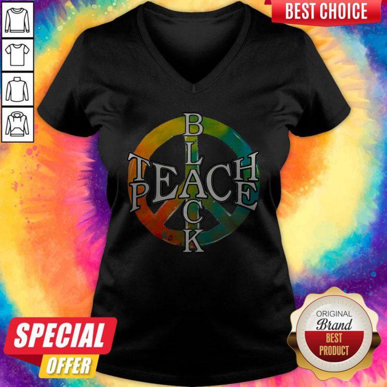 Funny Black Teach Peace V- neck