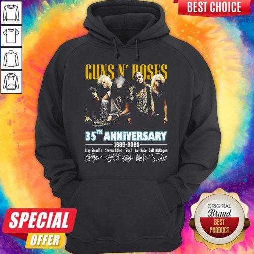 Guns N' Poses 35th Anniversary 1985 2020 Signatures Hoodiea