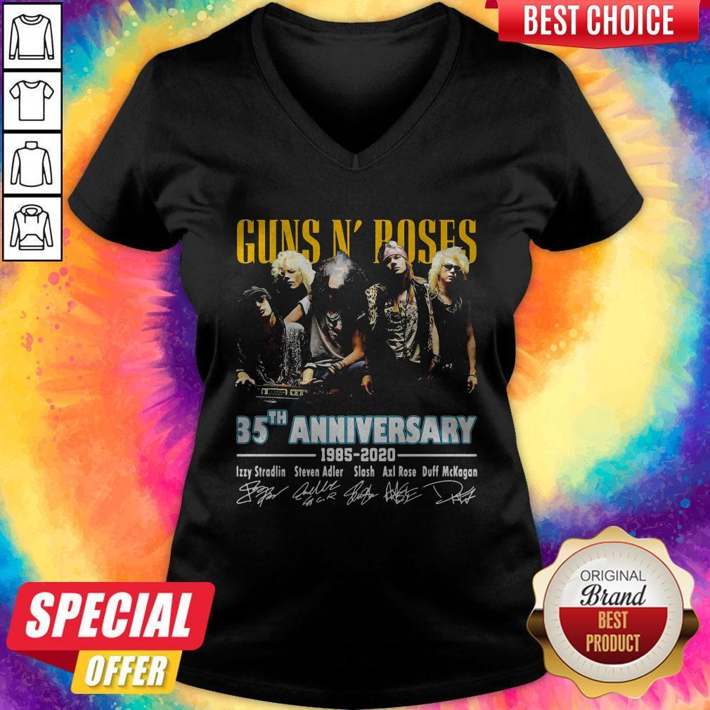 Guns N' Poses 35th Anniversary 1985 2020 Signatures   V- neck