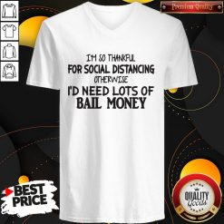 I'm So Thankful For Social Distancing Otherwise I'd Need Lots Of Bail Money V- neck