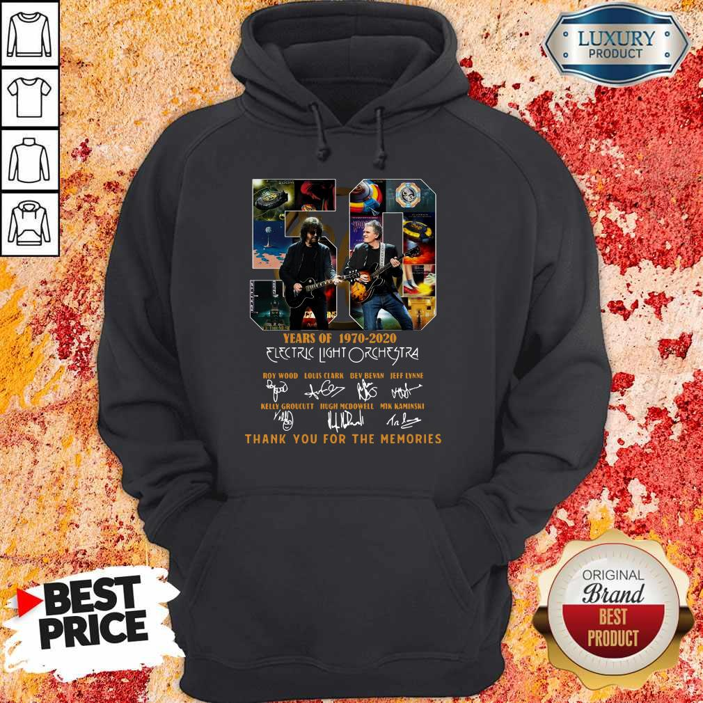 ELectric Light Orchestra 50 Years Of 1970 2020 Thank You For The Memories Signatures Hoodiea