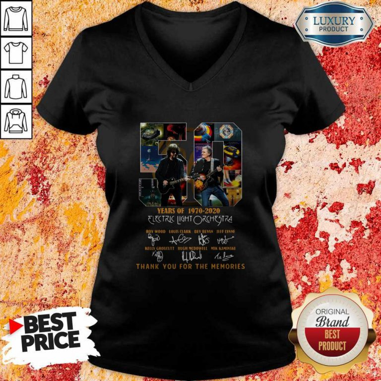 ELectric Light Orchestra 50 Years Of 1970 2020 Thank You For The Memories Signatures V- neck