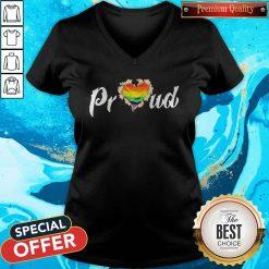 LGBT Proud Blood Inside Me Heart V-neck