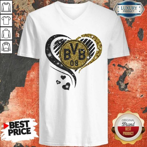 Love Borussia Dortmund Hearts Diamond Love Borussia Dortmund Hearts Diamond V- neck