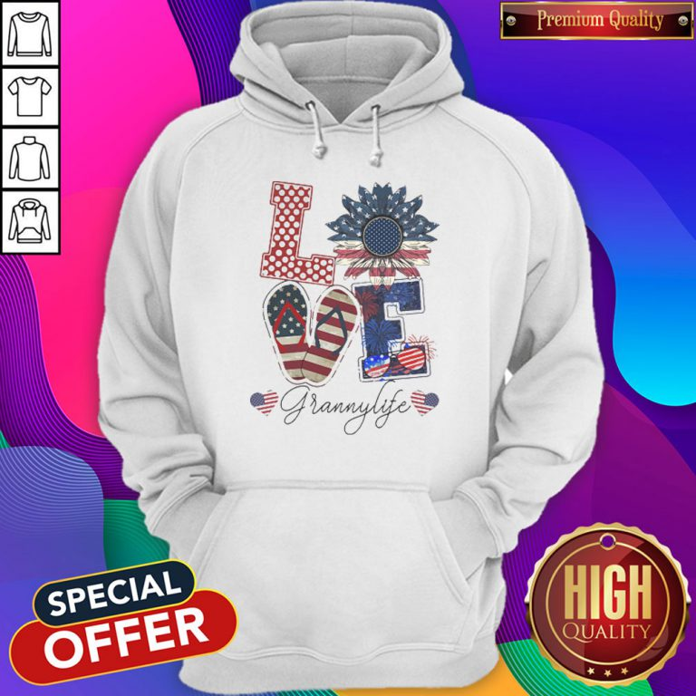 Love Grannylife Heart Flower American Flag Independence Day Hoodiea
