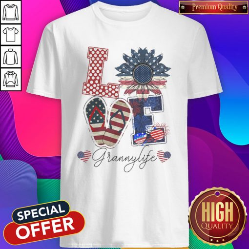 Love Grannylife Heart Flower American Flag Independence Day Shirt