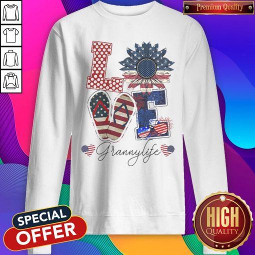 Love Grannylife Heart Flower American Flag Independence Day Sweatshirt