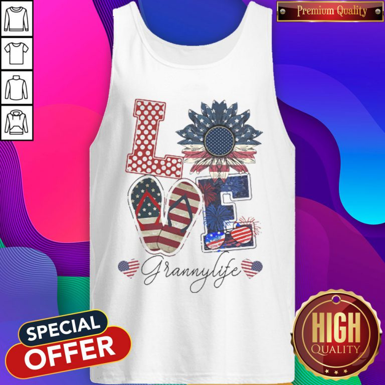 Love Grannylife Heart Flower American Flag Independence Day Tank Top