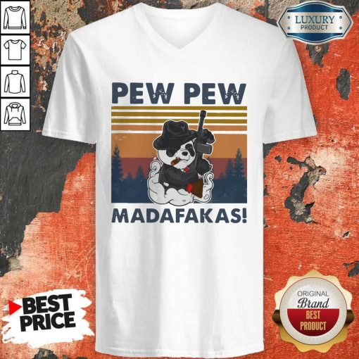Panda Mafia Pew Pew Madafakas Vintage V- neck