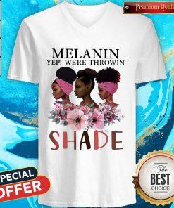 Premium Black Queen Melanin Yep We're Throw Shade V- neck