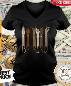 Pretty Be Kind Hand Sign Language Unisex V-neck