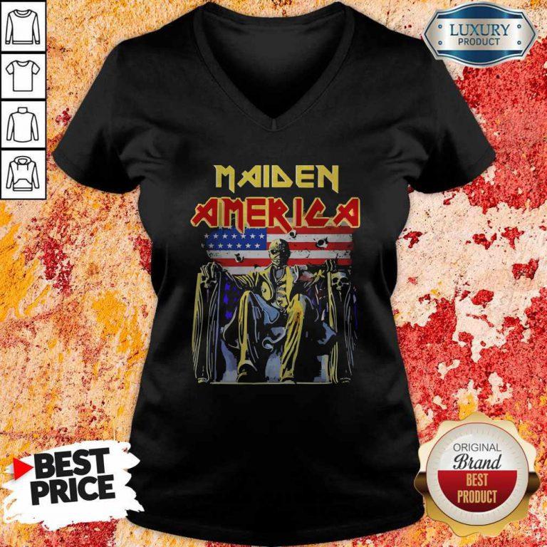 Pretty Iron Maiden American flag ShirtPretty Iron Maiden American flag V- neck